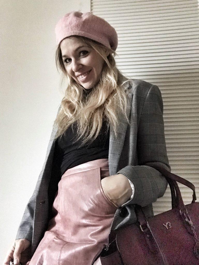 yoins pink leather skirt