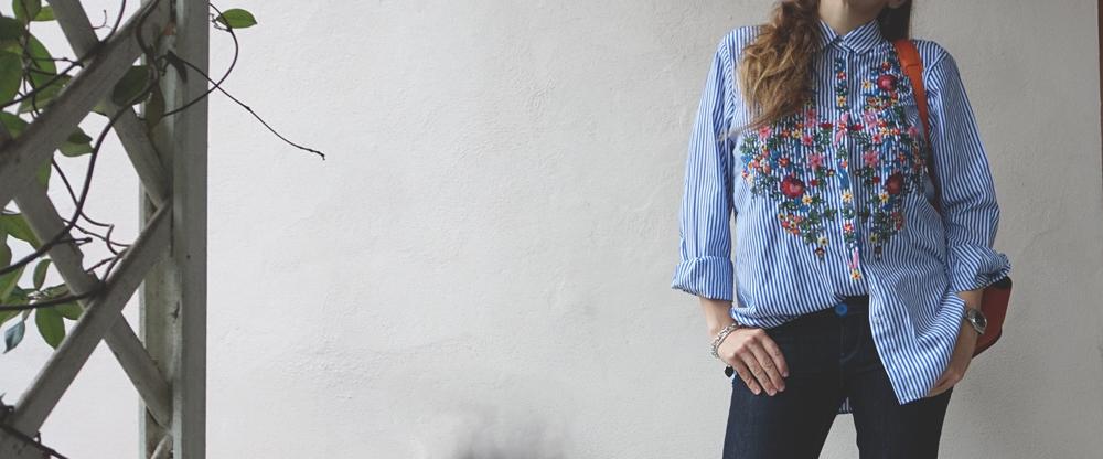 camicia righe e ricami shein