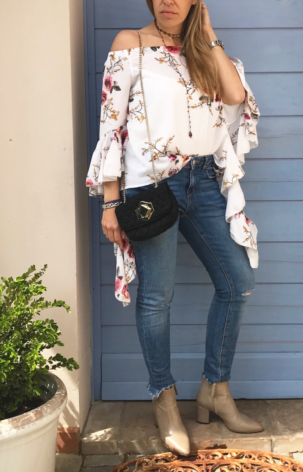 shein top volant and flowers sweet lavanda blog