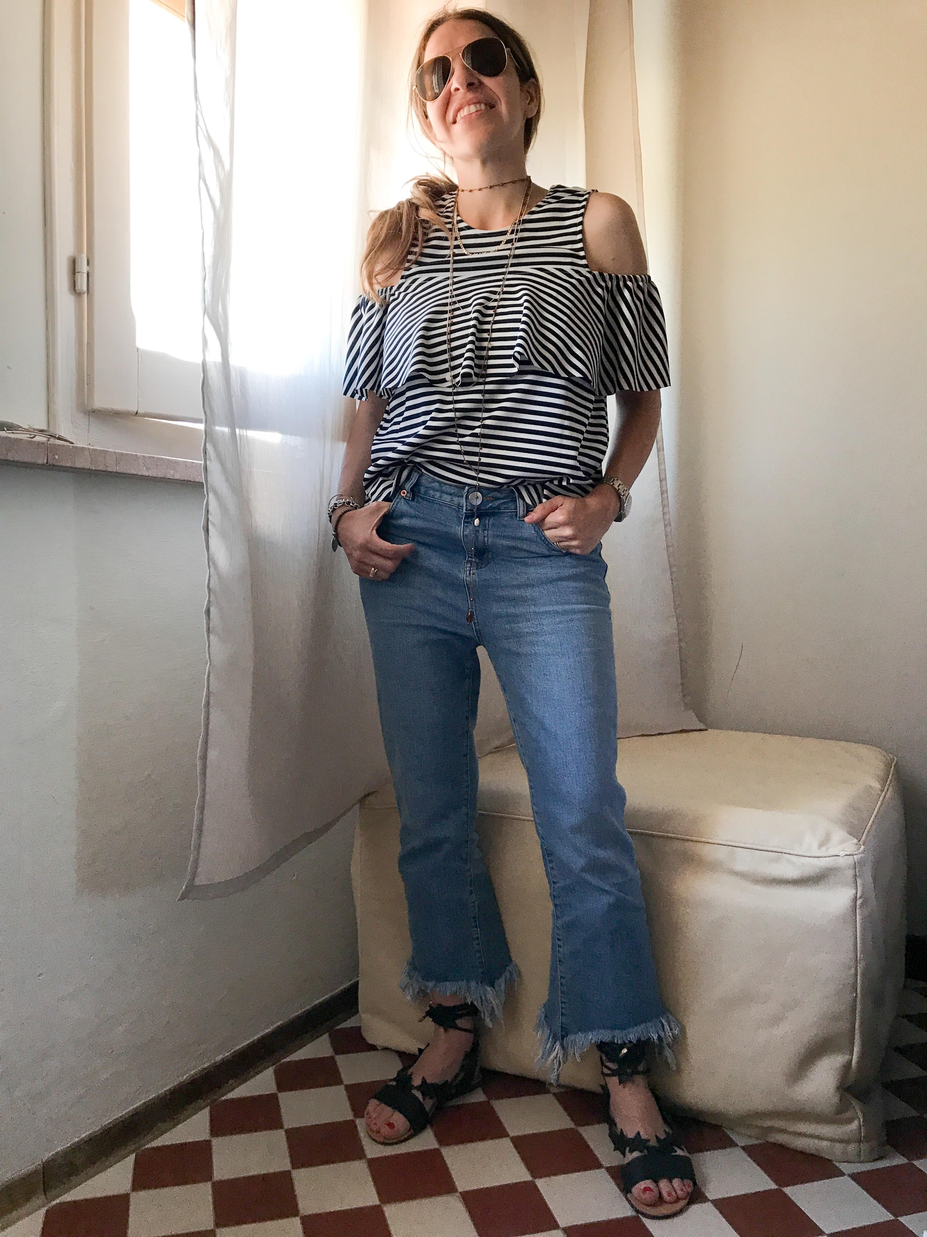 sweet lavanda outfit volant e righe